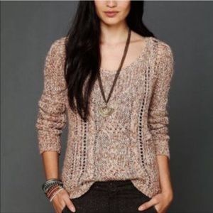 Free People small Pink Chunky Open Knit Sweater